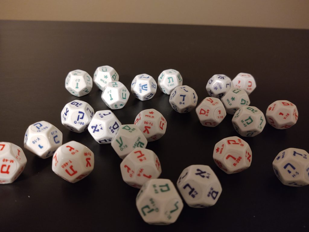 "Customized 12-sided Hebrew dice are used in an upcoming ""Milhamah"" RPG."